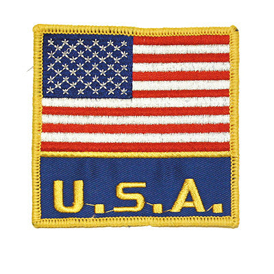 "USA FLAG PATCH with ""USA"" 3.5"" x 3.5"" - SparringGearSet.com"