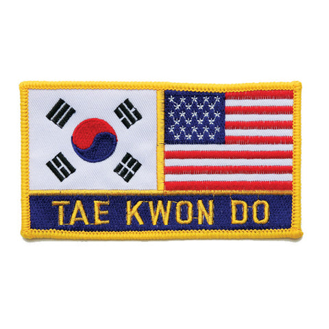 "2 FLAG + ""TAE KWON DO"" PATCH, Small - SparringGearSet.com"