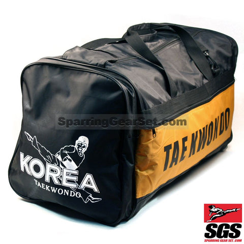 "Pine Tree Sangmoosa Large ""Tae Kwon Do"" Nylon Gear Bag Black/Yellow - SparringGearSet.com - 1"