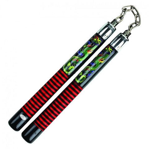 "12"" Black Wood Nunchaku With Red, Yellow, Green Dragon Imprints."