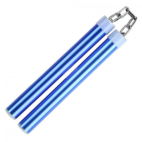 "9.75"" Aluminum Nunchaku With Metal Chain Link (Blue)"
