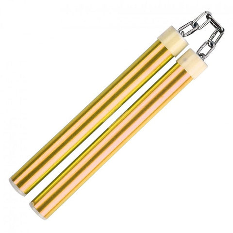 "9.75"" Aluminum Nunchaku With Metal Chain Link (Gold)"