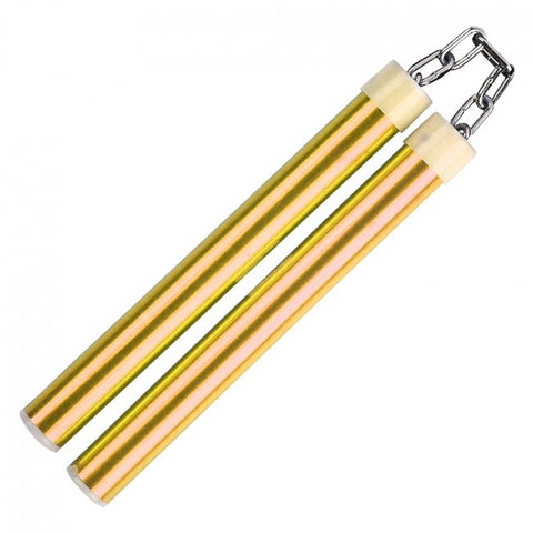 "10.75"" Aluminum Nunchaku With Metal Chain Link (Gold)"