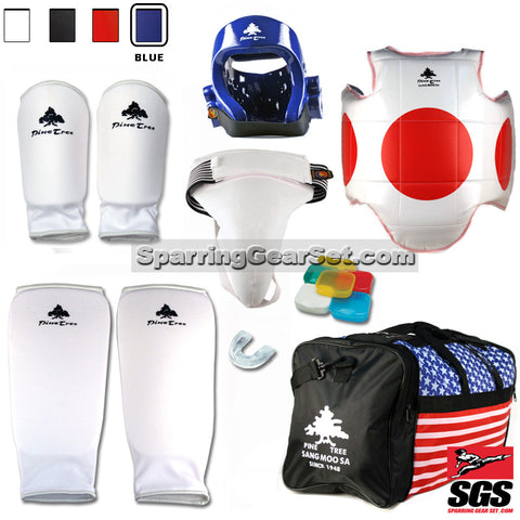 Pine Tree Sangmoosa Complete Cloth Martial Arts Sparring Gear Set with Bag, Shin Guard, and Groin Cup - SparringGearSet.com - 1