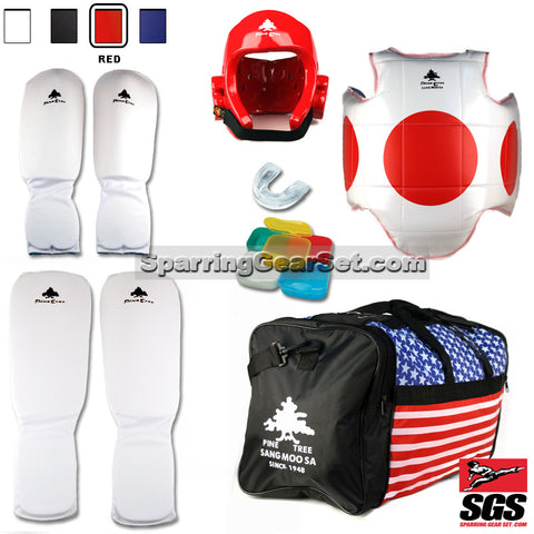 Pine Tree Sangmoosa Complete Cloth Martial Arts Sparring Gear Set with Bag - SparringGearSet.com - 1