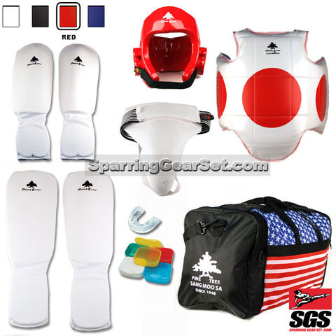 Pine Tree Sangmoosa Complete Cloth Martial Arts Sparring Gear Set with Bag, Shin Instep, Groin Cup - SparringGearSet.com - 1