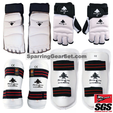 Ping Tree Samgmoosa White Vinyl Shin, Forearm, Gloves and Foot Guard - SparringGearSet.com - 1