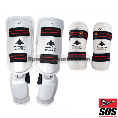 Pine Tree Sangmoosa White Vinyl Sparring Gear Set Shin Instep and Forearm Guards - SparringGearSet.com - 1