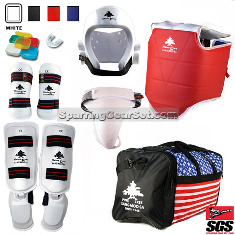 Pine Tree Sangmoosa Complete Taekwondo Vinyl Sparring Gear Set w/ Shin Instep Guards - SparringGearSet.com - 1