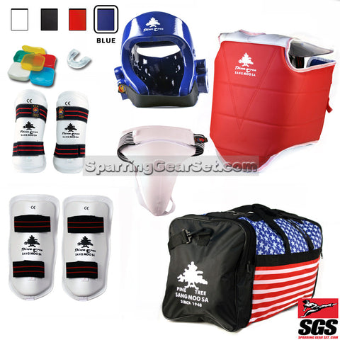 Pine Tree Sangmoosa Complete Taekwondo Vinyl Sparring Gear Set w/ Shin Guards - SparringGearSet.com - 1