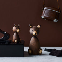 wooden designer animals baby bear and mama bear lucie kaas homewares from denmark