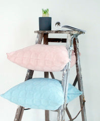 soft blush pink and light blue cushion in lush texture homewares online
