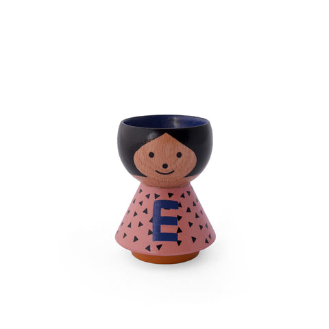 Danish handpainted eggcup by Lucie Kaas, perfect for morning breakfast or use as a salt and pepper pinch pot Girl E