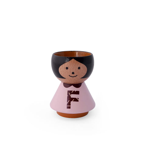 Danish handpainted eggcup by Lucie Kaas, perfect for morning breakfast or use as a salt and pepper pinch pot Girl F