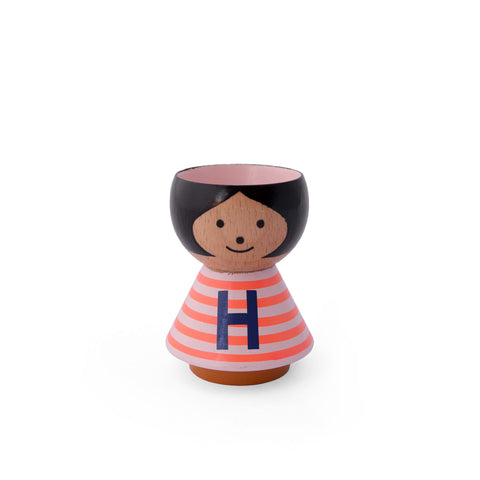 Danish handpainted eggcup by Lucie Kaas, perfect for morning breakfast or use as a salt and pepper pinch pot Girl H