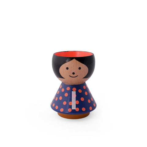 Danish handpainted eggcup by Lucie Kaas, perfect for morning breakfast or use as a salt and pepper pinch pot Girl I