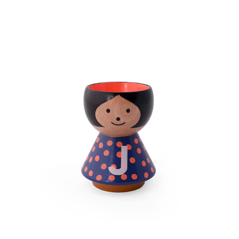 "Danish Handpainted Eggcup - A-Z Girl ""J"""