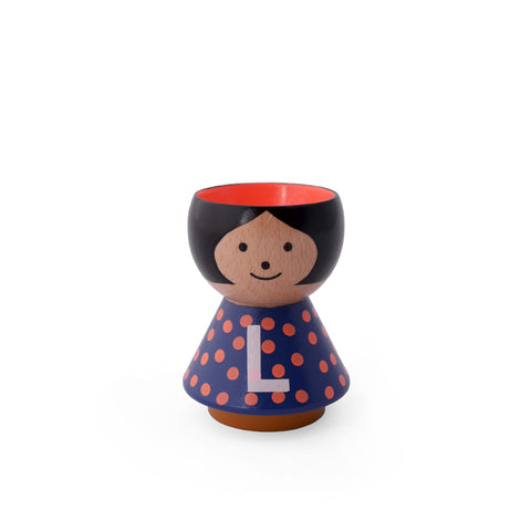 Hand painted Danish eggcup Girl L or use as a table decoration or salt and pepper pinch pot