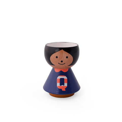 Danish handpainted eggcup by Lucie Kaas, perfect for morning breakfast or use as a salt and pepper pinch pot Girl Q