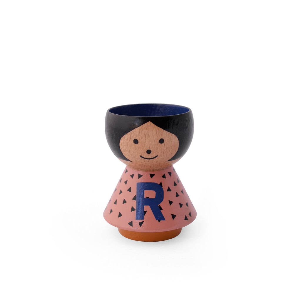 Danish handpainted eggcup by Lucie Kaas, perfect for morning breakfast or use as a salt and pepper pinch pot Girl R