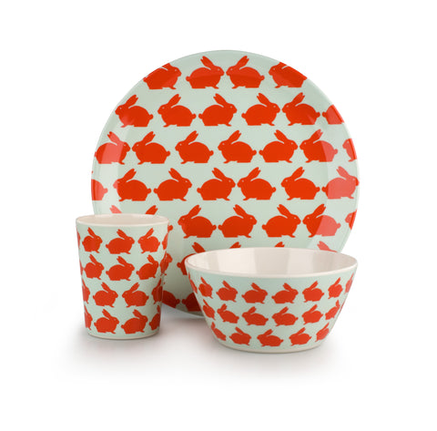 Anorak Kissing Rabbits Melamine Set