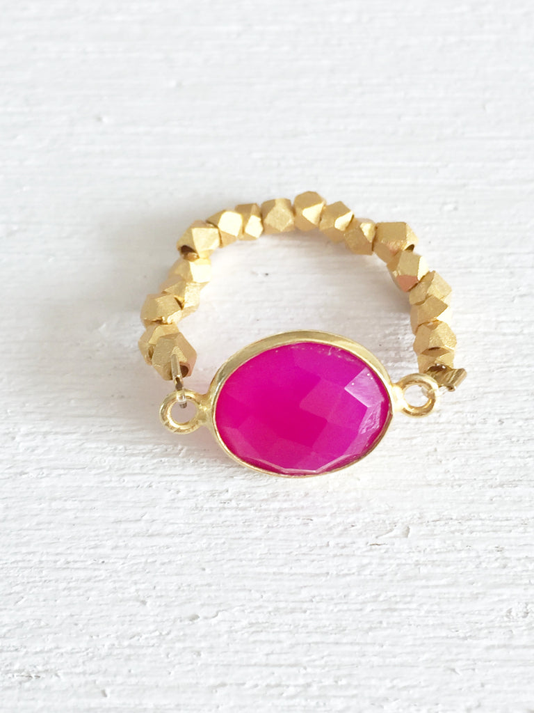Hot Pink Chalcedony Stretch Ring