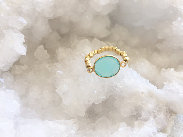 Aqua Chalcedony Stretch Ring