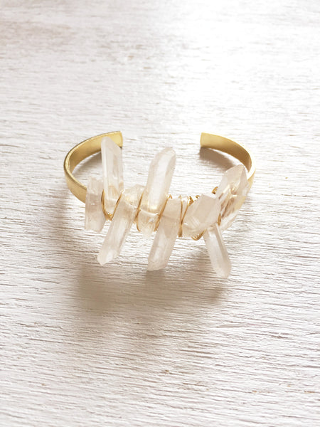 Clear Crystal Cuff Bracelet with Gold Wire