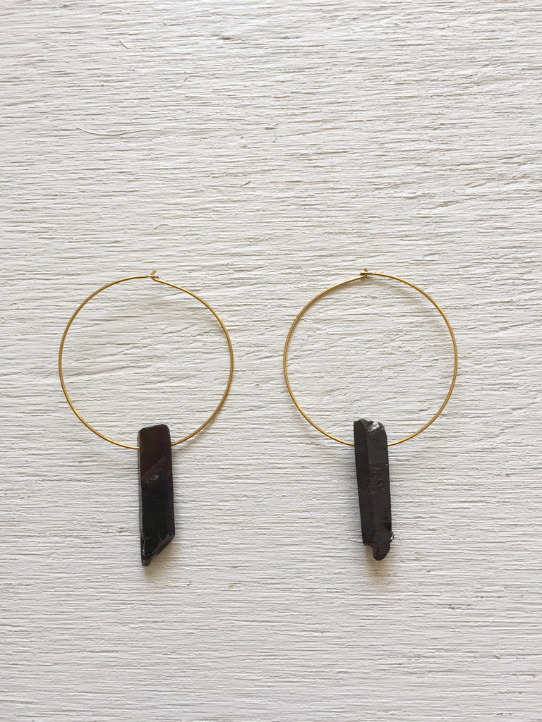 Titanium Quartz Point Hoop Earrings