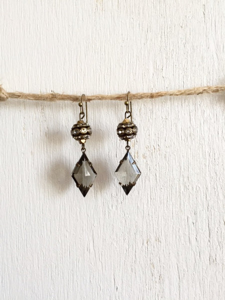 Grey Rhinestone Earrings - Bency Co. Jewelry - 1
