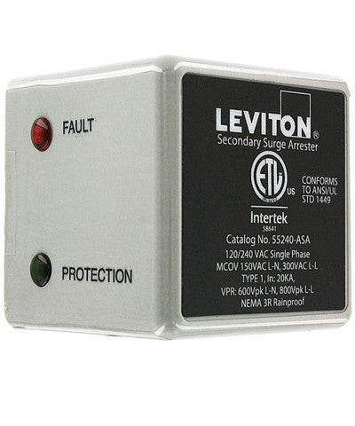 120/240 Volt, Outdoor Surge Arrester, 55000 Series, LED Indicator and Audible Alarm, NEMA 3R, Single Phase, Type 1, 55240-ASA - Leviton