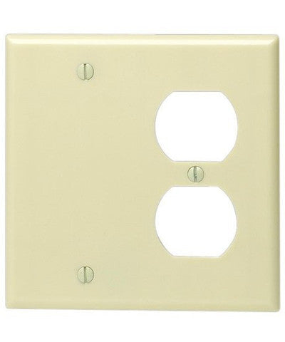 2-Gang 1-Duplex 1-Blank Device Combination Wall Plate, Standard Size, Thermoset, Box Mount, Ivory, 86008 - Leviton
