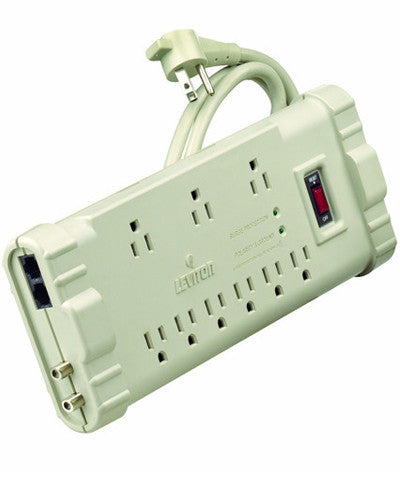Office Grade Surge Strip, 9 Outlets, 6 Ft Cord, 5-15P plug, S2000-PS - Leviton
