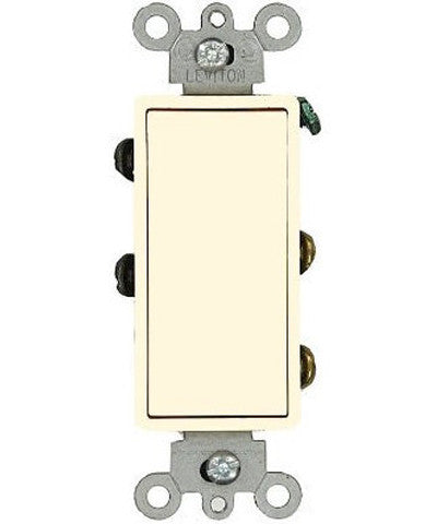 15 Amp 120/277 Volt, Decora Rocker Double-Pole AC Quiet Switch, Residential Grade, Grounding, Quickwire Push-In & Side Wired, Light Almond/Ivory/White/Black, 5602-2 - Leviton - 1