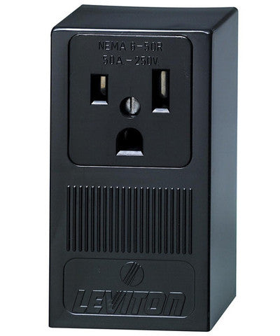 50 Amp, 250 Volt, Surface Mounting Receptacle, Straight Blade, Industrial Grade, Grounding, Black, 5378 - Leviton