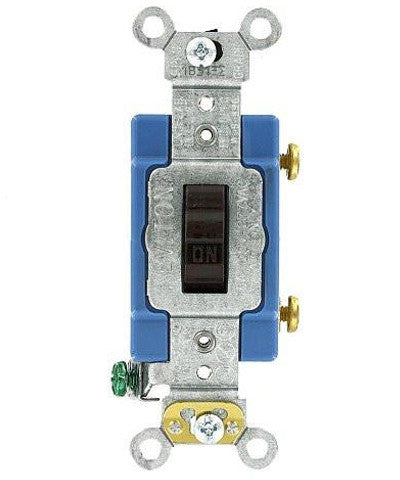 15-Amp, Toggle Single-Pole AC Quiet Switch, 120/277-Volt, Extra Heavy Duty Grade, Self Grounding, Various Colors, 1201-2 - Leviton - 5