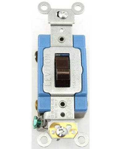 15 Amp, Toggle 4-Way AC Quiet Switch, 120/277 Volt, Extra Heavy Duty Spec Grade, Self Grounding, Back and Side Wired, Brown/Ivory/White, 1204-2 - Leviton - 1
