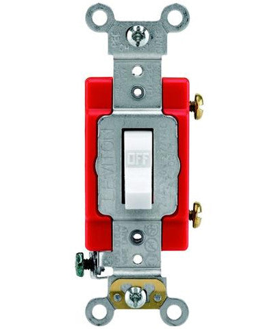 277V Single Pole Quiet Toggle Switch 1221-2R Leviton Red 20A-120