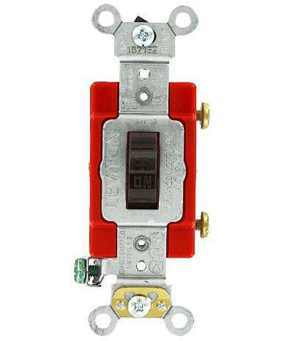 20 Amp, Toggle Single-Pole AC Quiet Switch, 120/277 Volt, Extra Heavy Duty Spec Grade, Self Grounding, Various Colors, 1221-2 - Leviton - 1