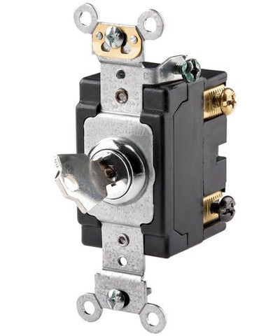 20 Amp, 120/277 Volt, Key Locking, Double-Pole, AC Quiet Switch, Extra Heavy Duty Grade, Chrome, 1222-2KL - Leviton