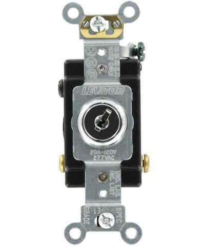20 Amp, 120/277 Volt, Key Locking, 3-Way AC Quiet Switch, Extra Heavy Duty Grade, Chrome, 1223-2KL - Leviton