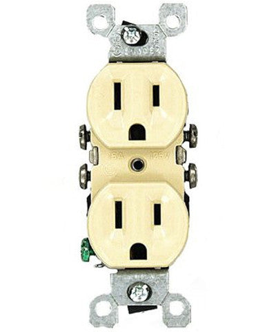 15 Amp 125 Volt, Co/Alr Duplex Receptacle, Straight Blade, Residential Grade, Grounding, Ivory/White, 12650 - Leviton - 1