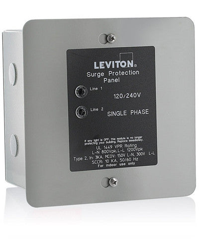 120/240 Volt Panel Protector, 4-Mode Protection, Light Commercial/Residential Grade, In NEMA 1 Enclosure, 51120-1 - Leviton
