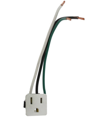 15 Amp, 125 Volt, Snap-In Receptacle, Grounding, White, 1374-1W - Leviton