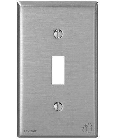 1-Gang Toggle Device Switch Wall Plate, Standard Size, Antimicrobial Treated Powder Coated Stainless Steel, 84001-A40 - Leviton