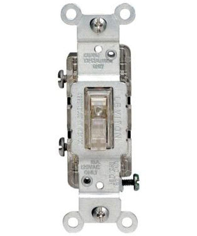 15 Amp 3-Way Toggle Light Switch, Clear, 1463-LC - Leviton