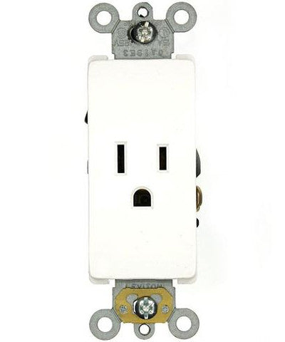 15 Amp, 125 Volt, Decora Plus Single Receptacle, Straight Blade, Commercial Grade, Self-Grounding, White, 16251-W - Leviton