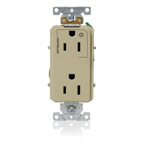 "Decora Plus Duplex Receptacle Outlet, Heavy-Duty Industrial Specification Grade, Split-Circuit, One Outlet Marked ""Controlled"", Smooth Face, 15 Amp, 125 Volt, Back or Side Wire, NEMA 5-15R, 2-Pole, 3-Wire, Self-Grounding - Ivory, 16252-1PI"