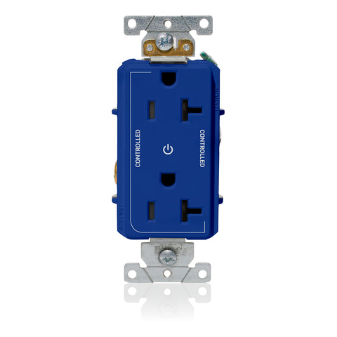 "Decora Plus Duplex Receptacle Outlet, Heavy-Duty Industrial Specification Grade, Two Outlets Marked ""Controlled"", Smooth Face, 20 Amp, 125 Volt, Back or Side Wire, NEMA 5-20R, 2-Pole, 3-Wire, Self-Grounding - Blue, 16352-2PB"