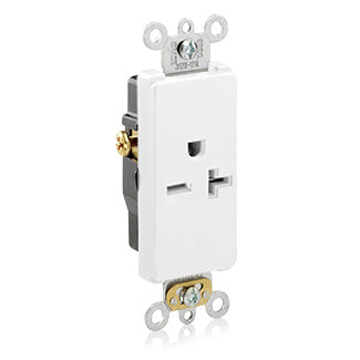 20 Amp, 250 Volt, Decora Plus Single Receptacle, Straight Blade, Commercial Grade, Self-Grounding, White, 16441-W